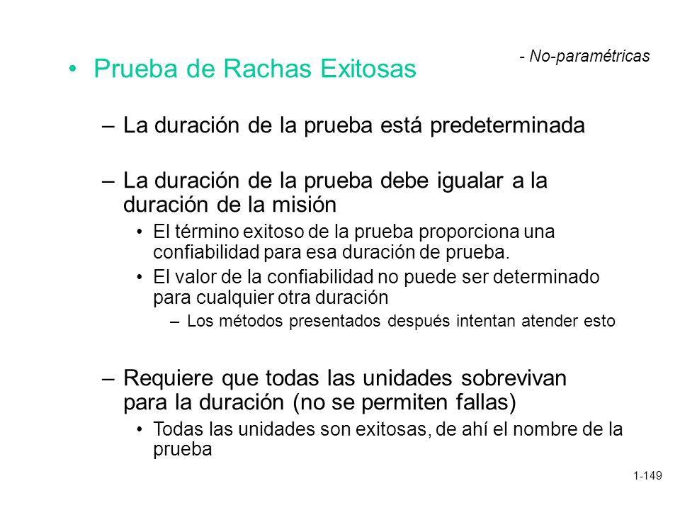 1-149 Prueba de Rachas Exitosas –La duración de la prueba está predeterminada –La duración de la prueba debe igualar a la duración de la misión El tér