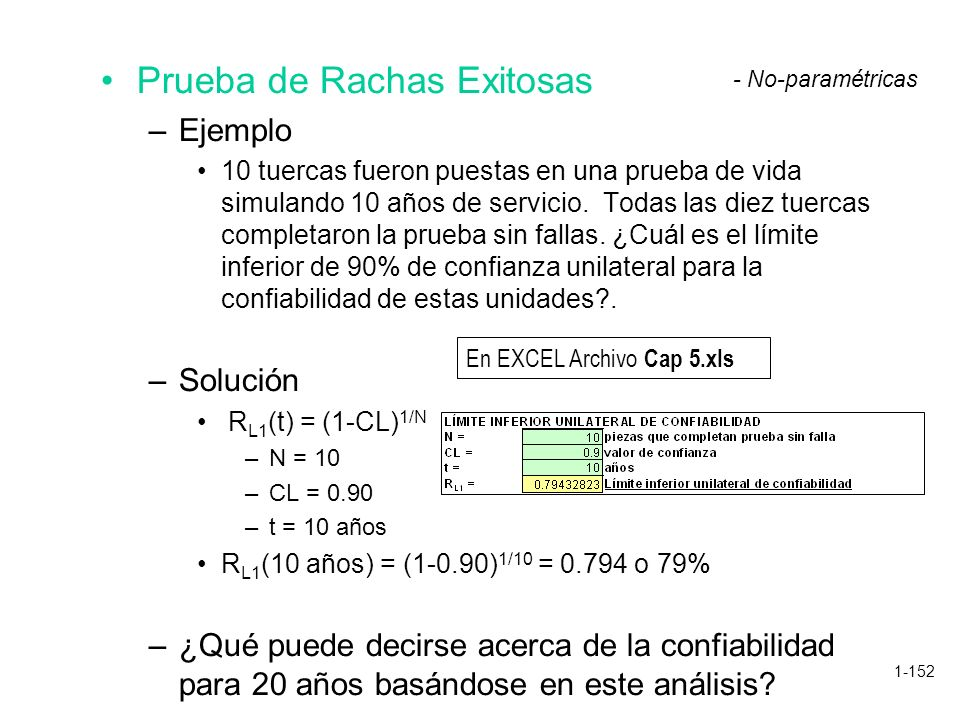 1-152 Prueba de Rachas Exitosas –Ejemplo 10 tuercas fueron puestas en una prueba de vida simulando 10 años de servicio. Todas las diez tuercas complet