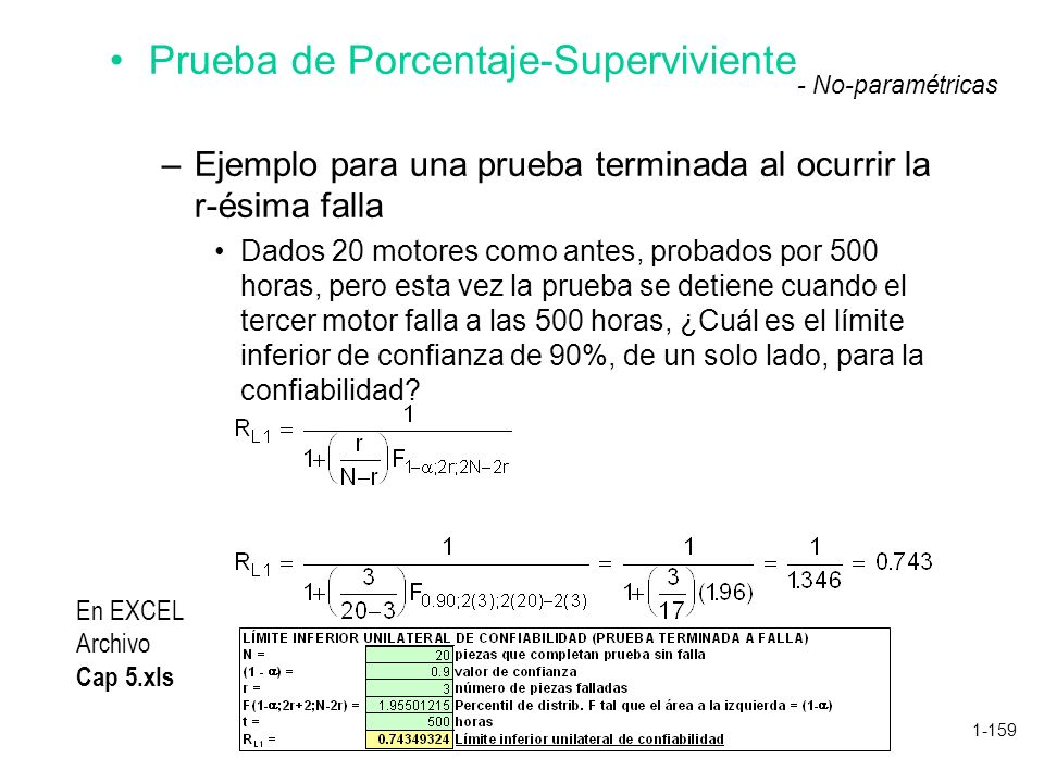 1-159 Prueba de Porcentaje-Superviviente –Ejemplo para una prueba terminada al ocurrir la r-ésima falla Dados 20 motores como antes, probados por 500