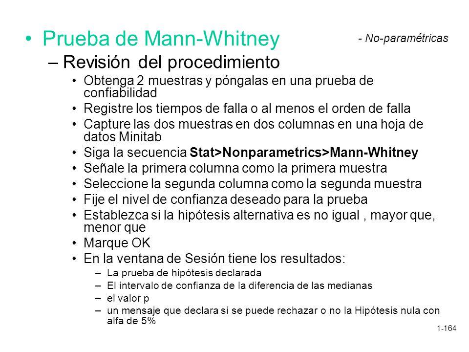 1-164 Prueba de Mann-Whitney –Revisión del procedimiento Obtenga 2 muestras y póngalas en una prueba de confiabilidad Registre los tiempos de falla o
