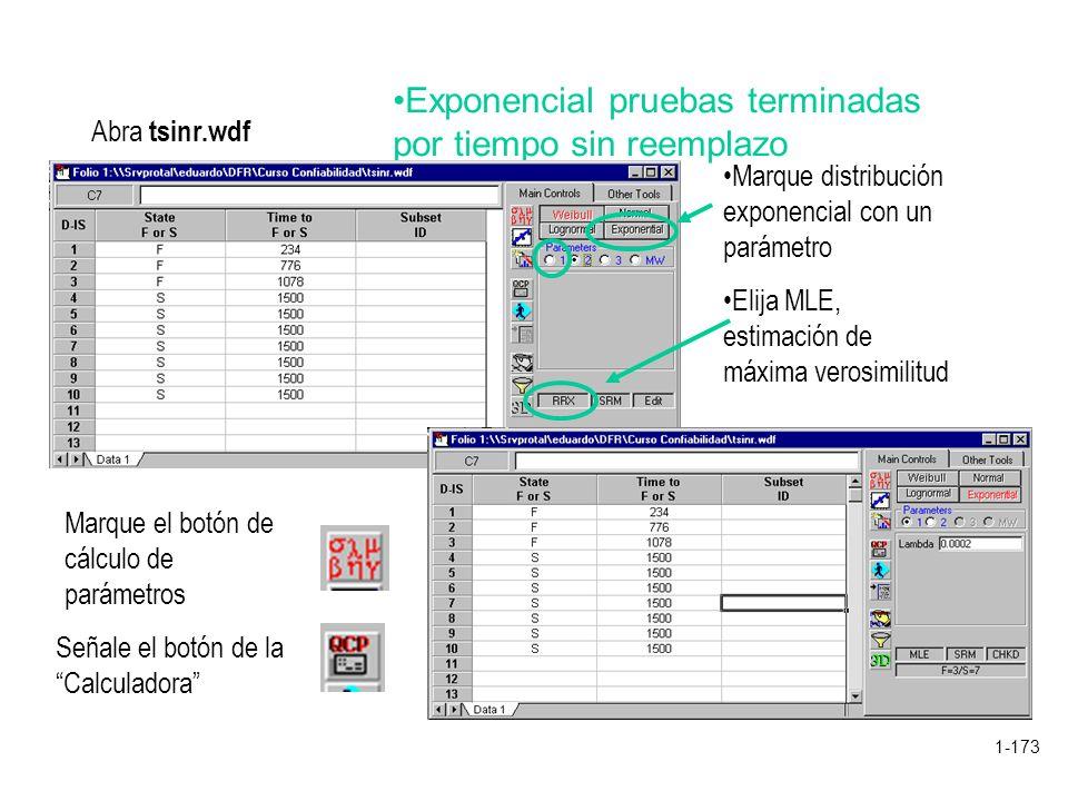 1-173 Exponencial pruebas terminadas por tiempo sin reemplazo Abra tsinr.wdf Marque distribución exponencial con un parámetro Elija MLE, estimación de