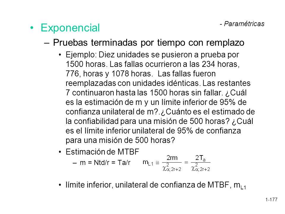 1-177 Exponencial –Pruebas terminadas por tiempo con remplazo Ejemplo: Diez unidades se pusieron a prueba por 1500 horas. Las fallas ocurrieron a las