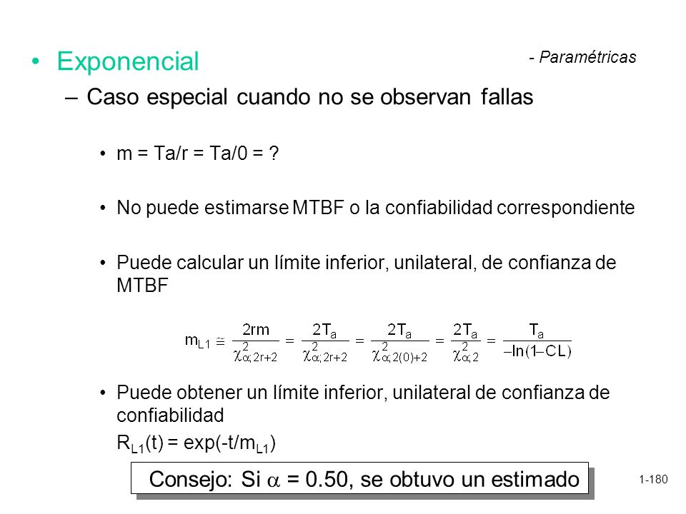 1-180 Exponencial –Caso especial cuando no se observan fallas m = Ta/r = Ta/0 = ? No puede estimarse MTBF o la confiabilidad correspondiente Puede cal