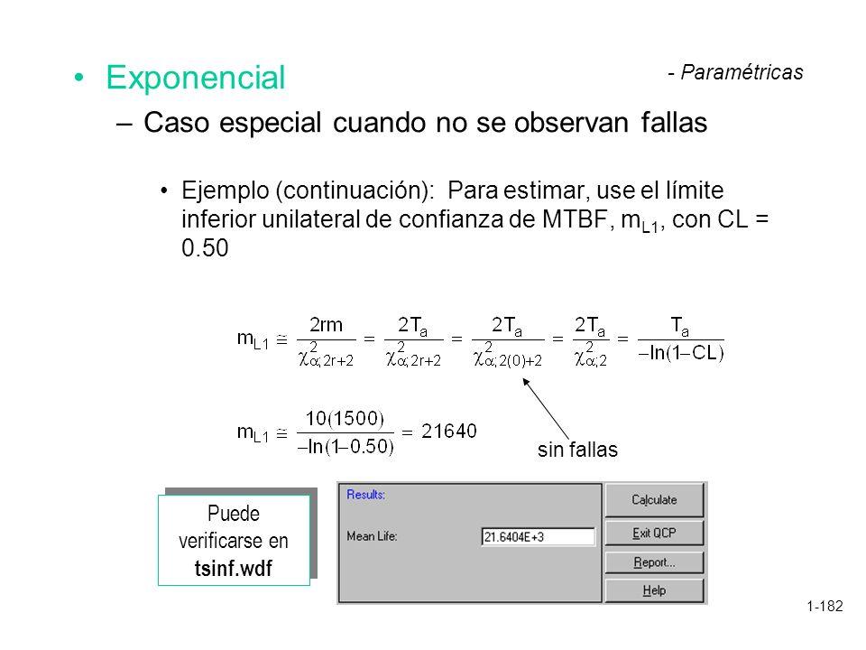 1-182 Exponencial –Caso especial cuando no se observan fallas Ejemplo (continuación): Para estimar, use el límite inferior unilateral de confianza de