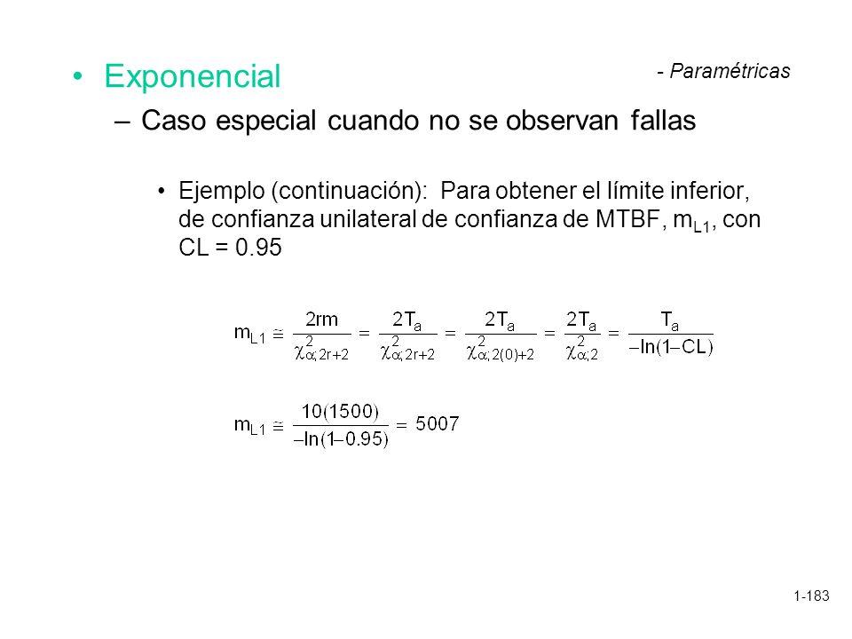 1-183 Exponencial –Caso especial cuando no se observan fallas Ejemplo (continuación): Para obtener el límite inferior, de confianza unilateral de conf