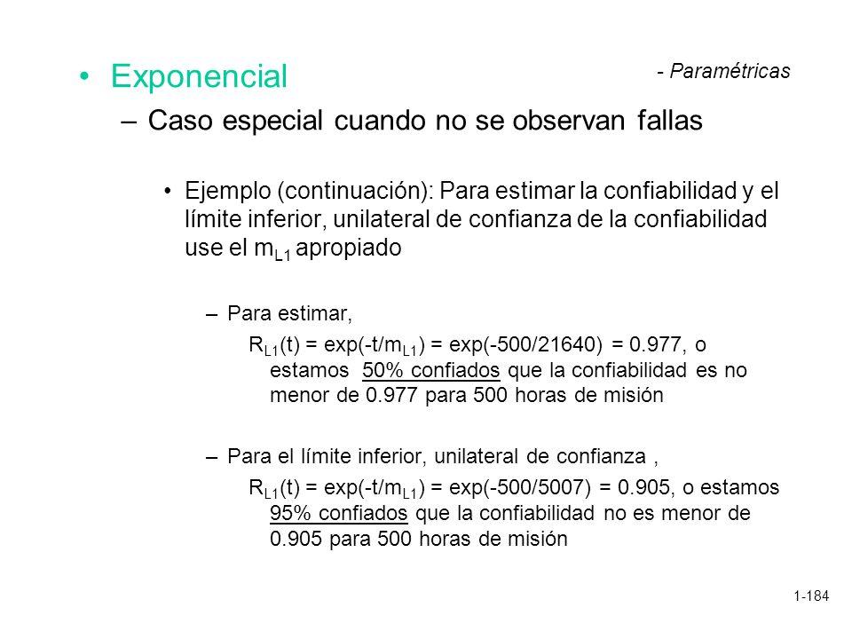 1-184 Exponencial –Caso especial cuando no se observan fallas Ejemplo (continuación): Para estimar la confiabilidad y el límite inferior, unilateral d