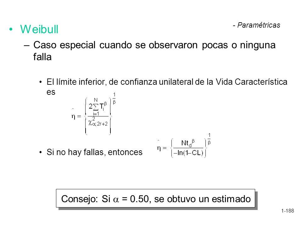 1-188 Weibull –Caso especial cuando se observaron pocas o ninguna falla El límite inferior, de confianza unilateral de la Vida Característica es Si no