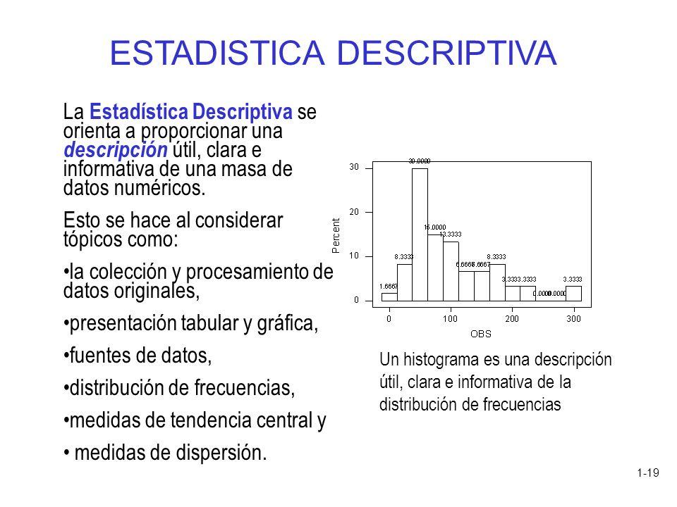 1-19 La Estadística Descriptiva se orienta a proporcionar una descripción útil, clara e informativa de una masa de datos numéricos. Esto se hace al co