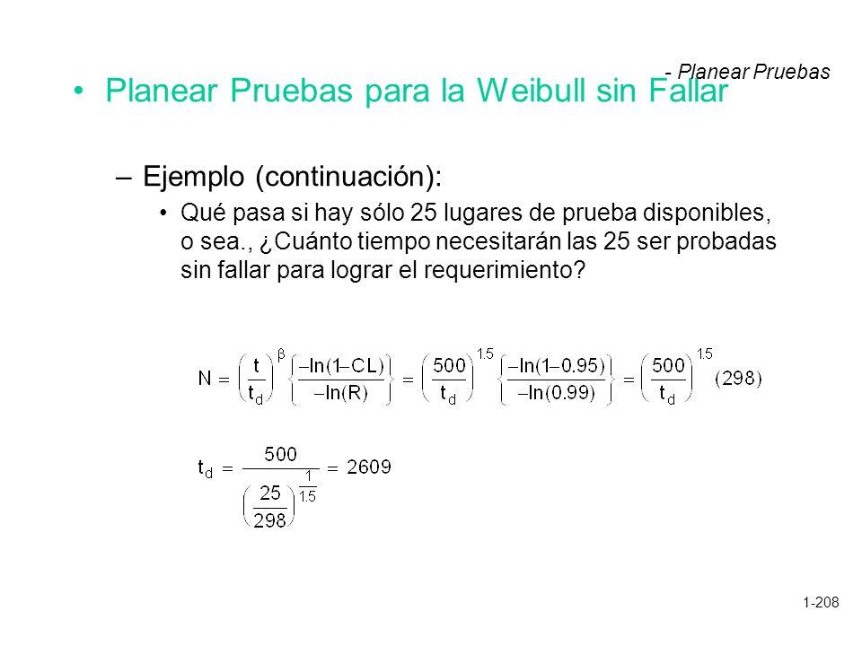 1-208 Planear Pruebas para la Weibull sin Fallar –Ejemplo (continuación): Qué pasa si hay sólo 25 lugares de prueba disponibles, o sea., ¿Cuánto tiemp