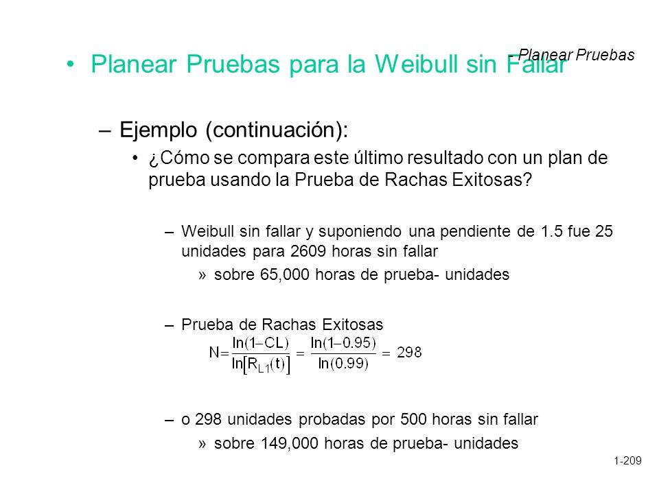 1-209 Planear Pruebas para la Weibull sin Fallar –Ejemplo (continuación): ¿Cómo se compara este último resultado con un plan de prueba usando la Prueb