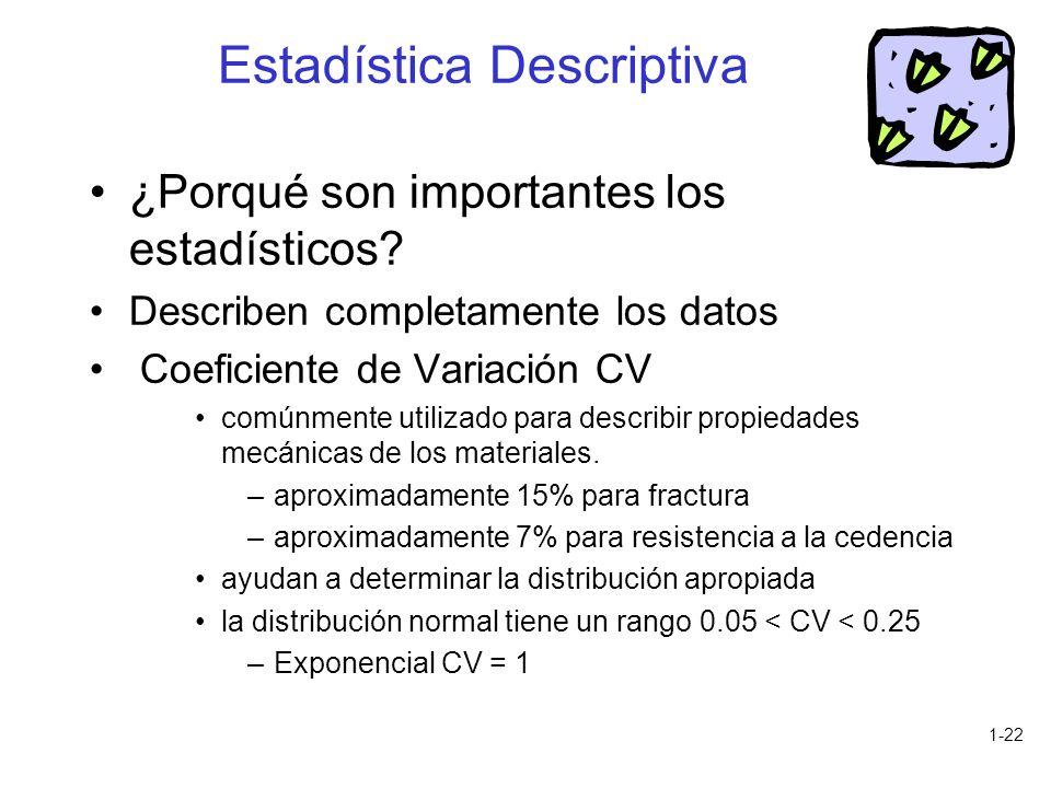 1-22 ¿Porqué son importantes los estadísticos? Describen completamente los datos Coeficiente de Variación CV comúnmente utilizado para describir propi