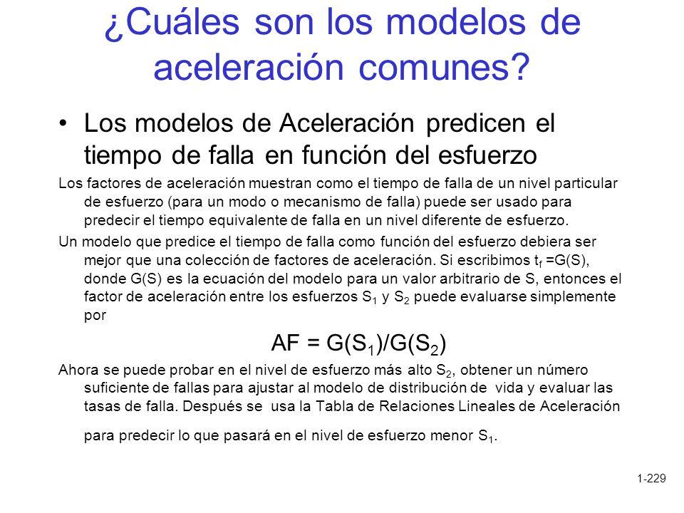 1-229 ¿Cuáles son los modelos de aceleración comunes? Los modelos de Aceleración predicen el tiempo de falla en función del esfuerzo Los factores de a