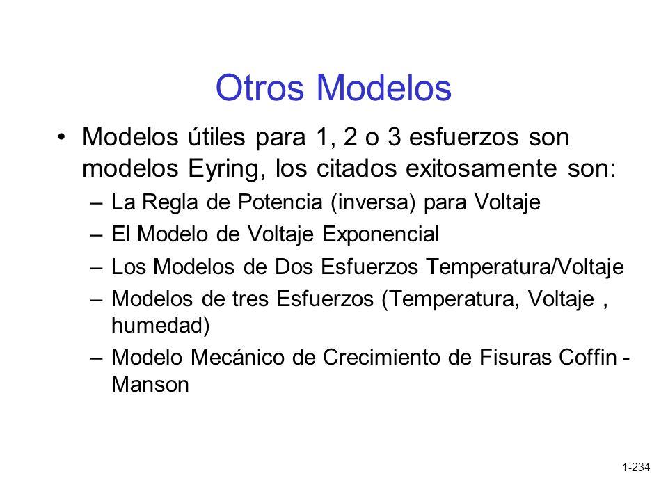 1-234 Otros Modelos Modelos útiles para 1, 2 o 3 esfuerzos son modelos Eyring, los citados exitosamente son: –La Regla de Potencia (inversa) para Volt