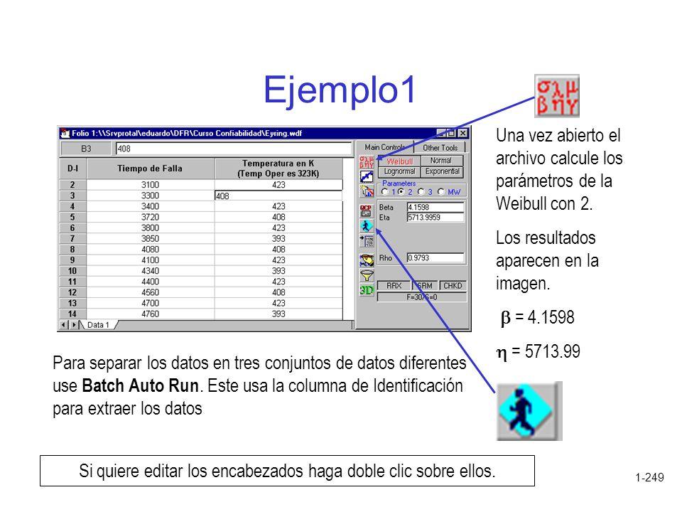 1-249 Ejemplo1 Una vez abierto el archivo calcule los parámetros de la Weibull con 2. Los resultados aparecen en la imagen. = 4.1598 = 5713.99 Si quie