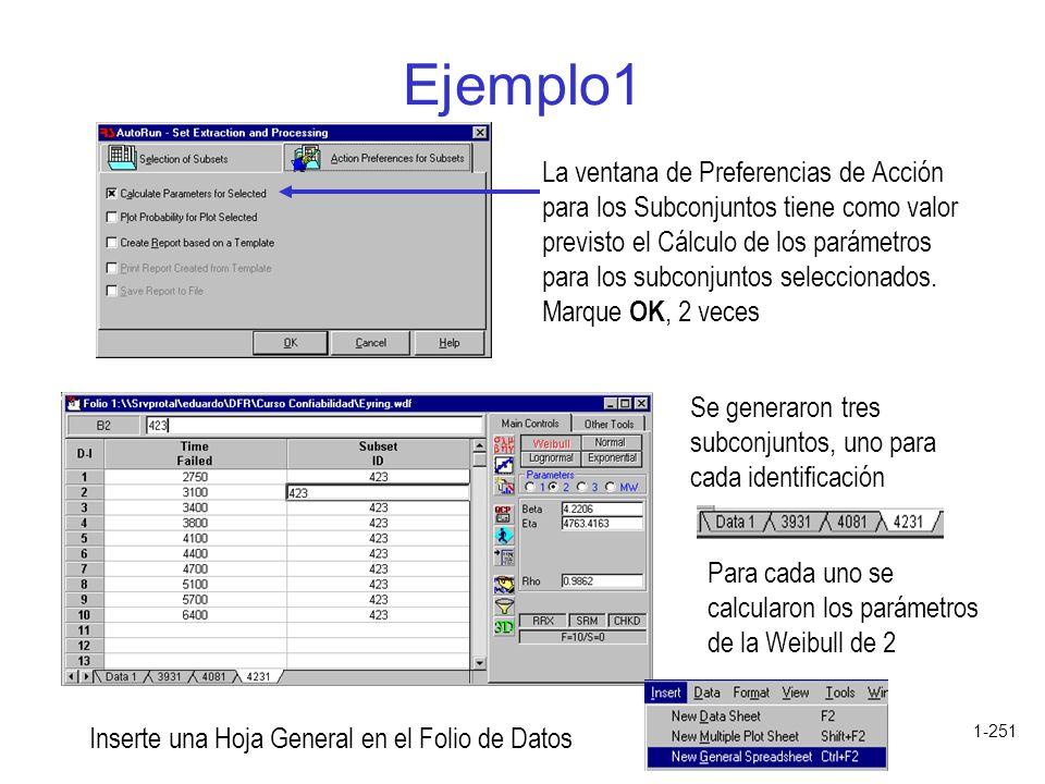 1-251 Ejemplo1 La ventana de Preferencias de Acción para los Subconjuntos tiene como valor previsto el Cálculo de los parámetros para los subconjuntos