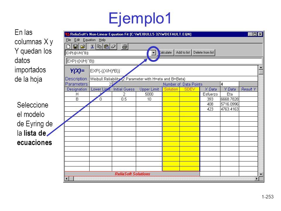 1-253 Ejemplo1 En las columnas X y Y quedan los datos importados de la hoja Seleccione el modelo de Eyring de la lista de ecuaciones