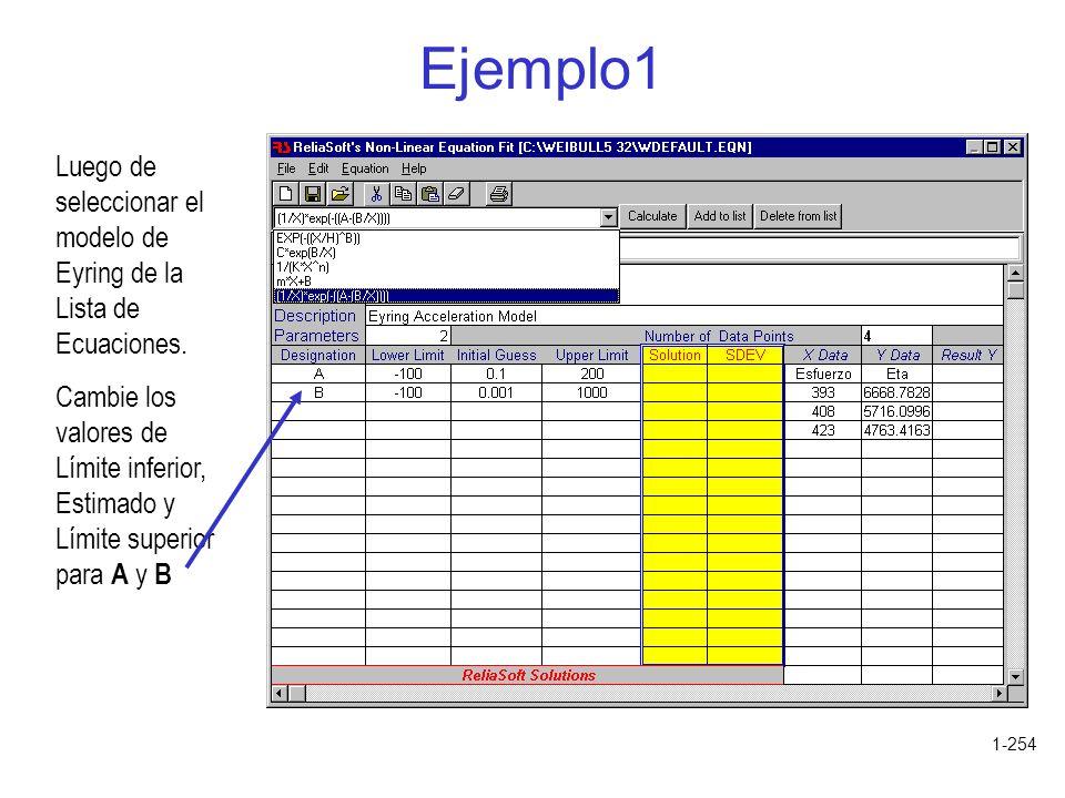 1-254 Ejemplo1 Luego de seleccionar el modelo de Eyring de la Lista de Ecuaciones. Cambie los valores de Límite inferior, Estimado y Límite superior p