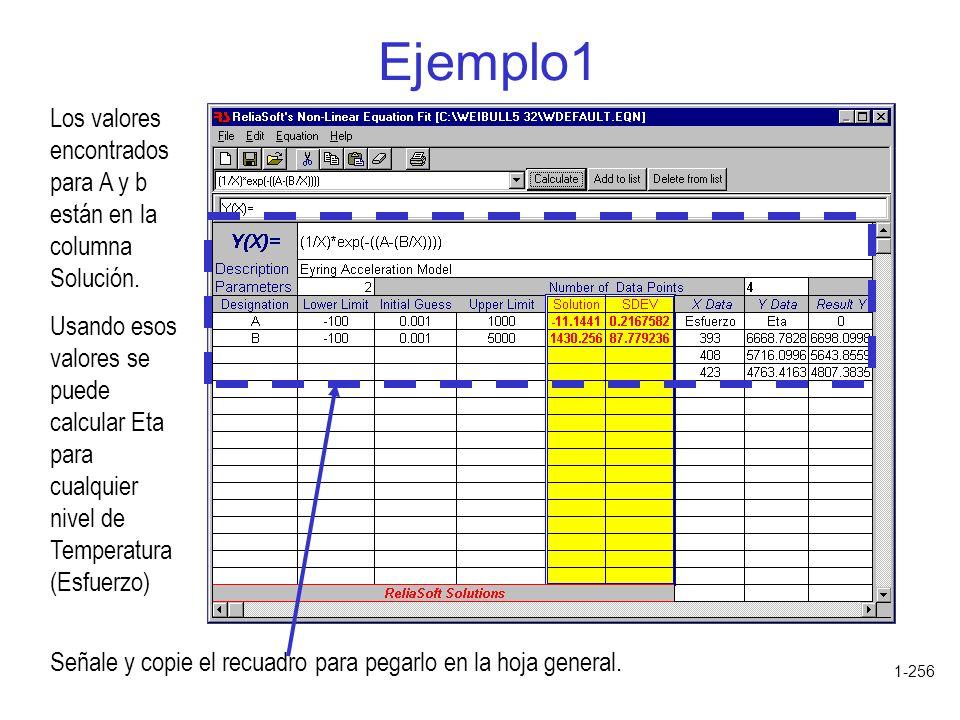 1-256 Ejemplo1 Los valores encontrados para A y b están en la columna Solución. Usando esos valores se puede calcular Eta para cualquier nivel de Temp