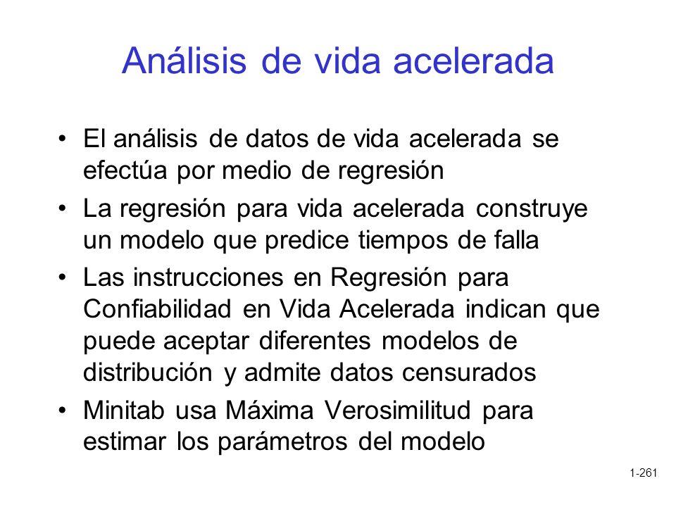 1-261 Análisis de vida acelerada El análisis de datos de vida acelerada se efectúa por medio de regresión La regresión para vida acelerada construye u