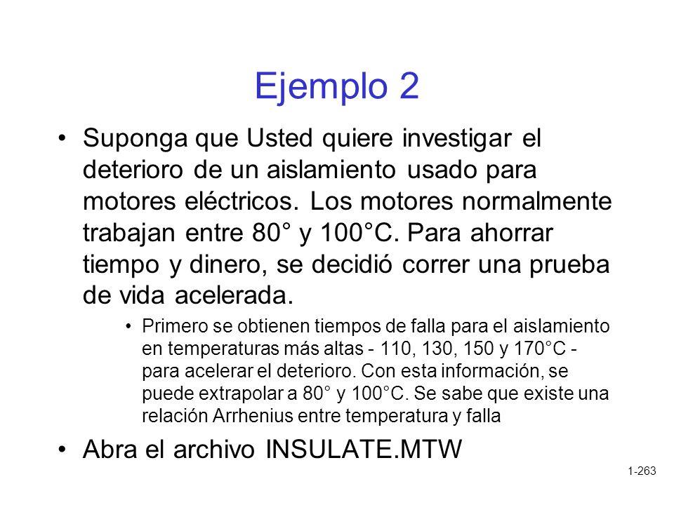 1-263 Ejemplo 2 Suponga que Usted quiere investigar el deterioro de un aislamiento usado para motores eléctricos. Los motores normalmente trabajan ent