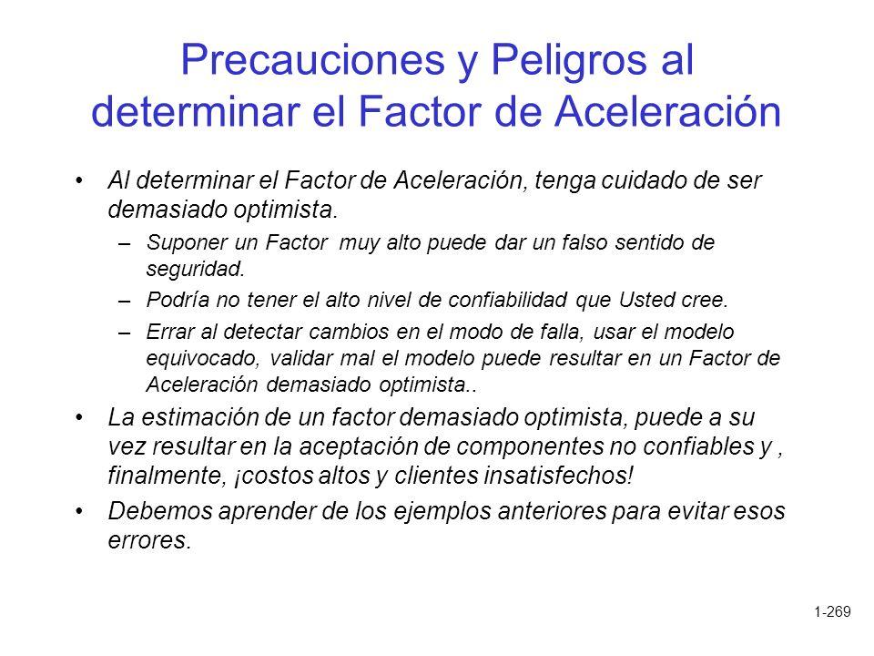 1-269 Precauciones y Peligros al determinar el Factor de Aceleración Al determinar el Factor de Aceleración, tenga cuidado de ser demasiado optimista.