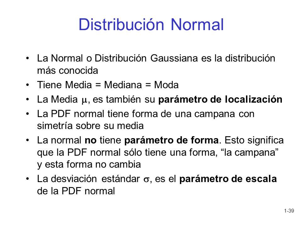 1-39 Distribución Normal La Normal o Distribución Gaussiana es la distribución más conocida Tiene Media = Mediana = Moda La Media, es también su parám