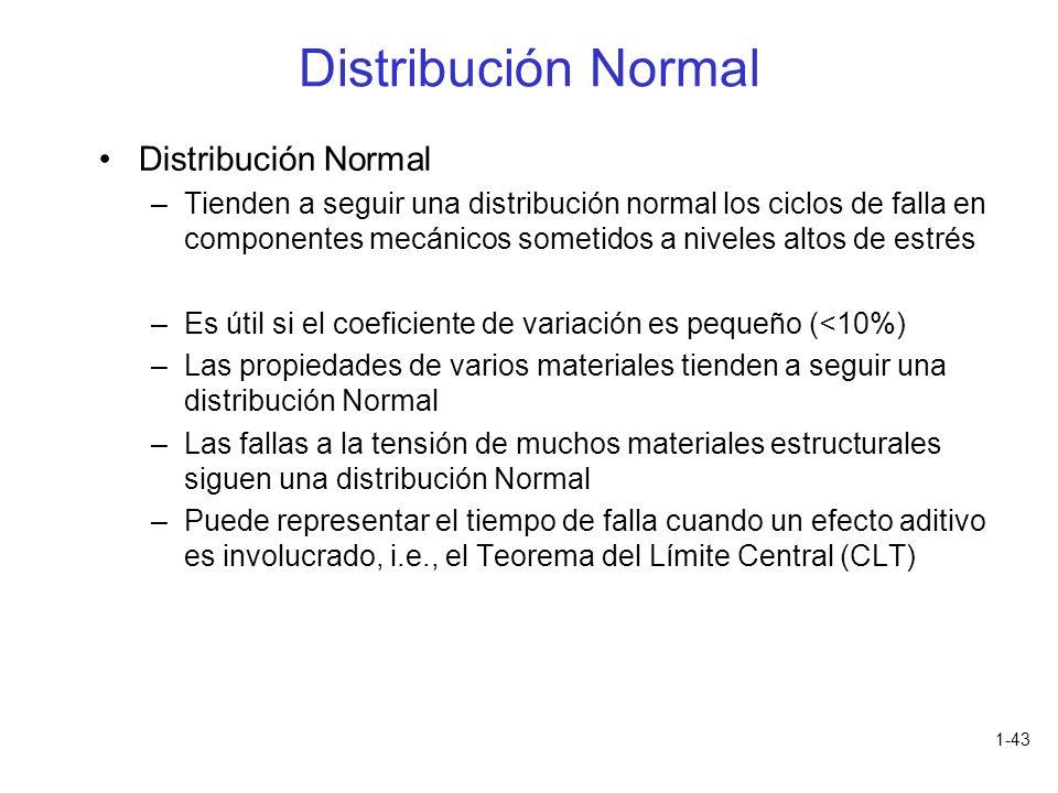 1-43 Distribución Normal –Tienden a seguir una distribución normal los ciclos de falla en componentes mecánicos sometidos a niveles altos de estrés –E