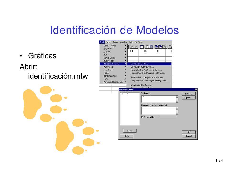 1-74 Identificación de Modelos Gráficas Abrir: identificación.mtw