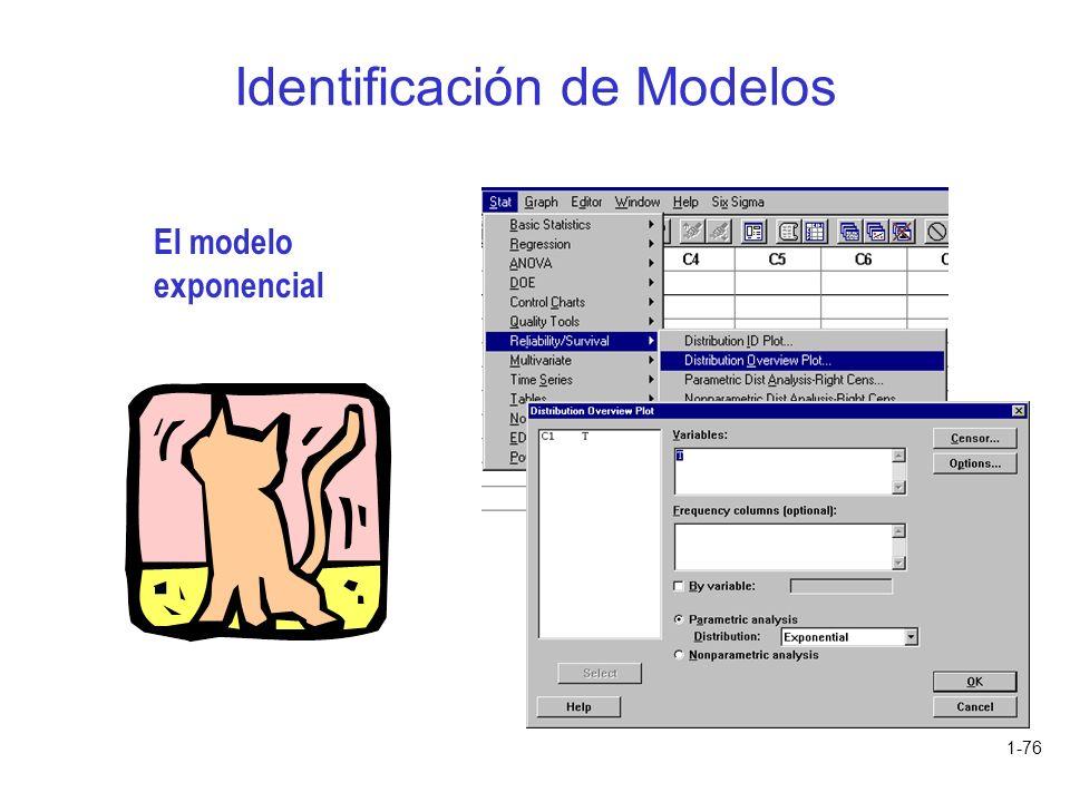 1-76 Identificación de Modelos El modelo exponencial