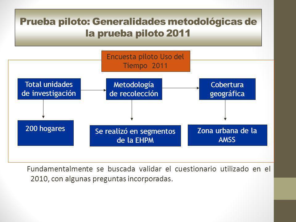 Prueba piloto: Generalidades metodológicas de la prueba piloto 2011 Fundamentalmente se buscada validar el cuestionario utilizado en el 2010, con algu
