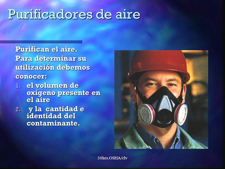 30hrs.OSHA/clv Purificadores de aire Purifican el aire. Para determinar su utilización debemos conocer: 1. el volumen de oxígeno presente en el aire 2