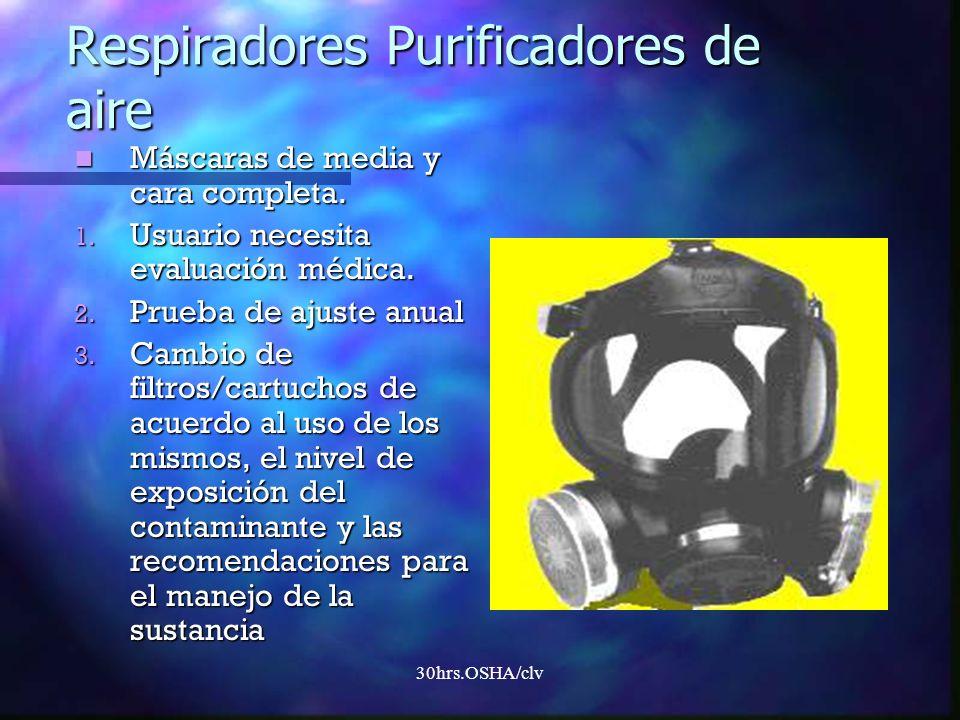 30hrs.OSHA/clv Respiradores Purificadores de aire Máscaras de media y cara completa. Máscaras de media y cara completa. 1. Usuario necesita evaluación