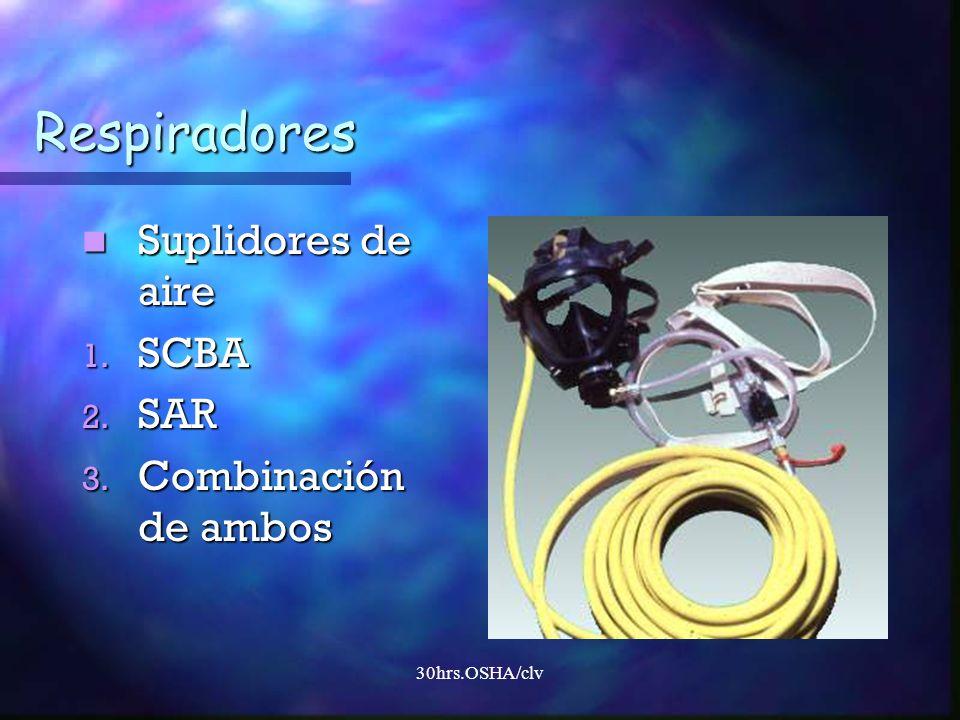 30hrs.OSHA/clv Respiradores Suplidores de aire Suplidores de aire 1. SCBA 2. SAR 3. Combinación de ambos