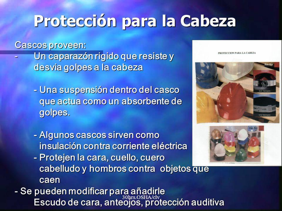 30hrs.OSHA/clv Cascos proveen: -Un caparazón rigido que resiste y desvia golpes a la cabeza - Una suspensión dentro del casco que actua como un absorb