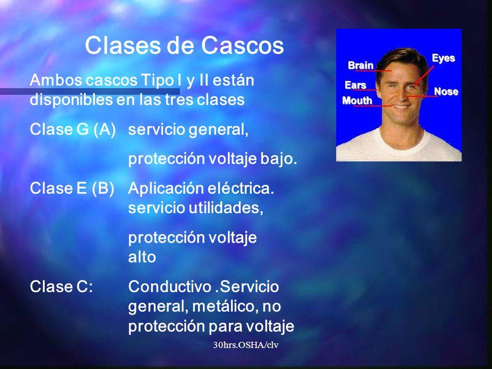 30hrs.OSHA/clv Clases de Cascos Ambos cascos Tipo I y II están disponibles en las tres clases Clase G (A)servicio general, protección voltaje bajo. Cl