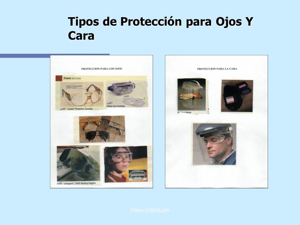 30hrs.OSHA/clv Tipos de Protección para Ojos Y Cara