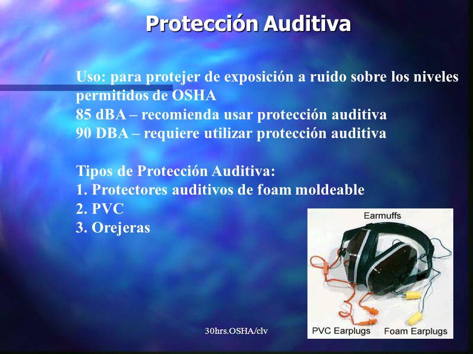 30hrs.OSHA/clv Protección Auditiva Uso: para protejer de exposición a ruido sobre los niveles permitidos de OSHA 85 dBA – recomienda usar protección a