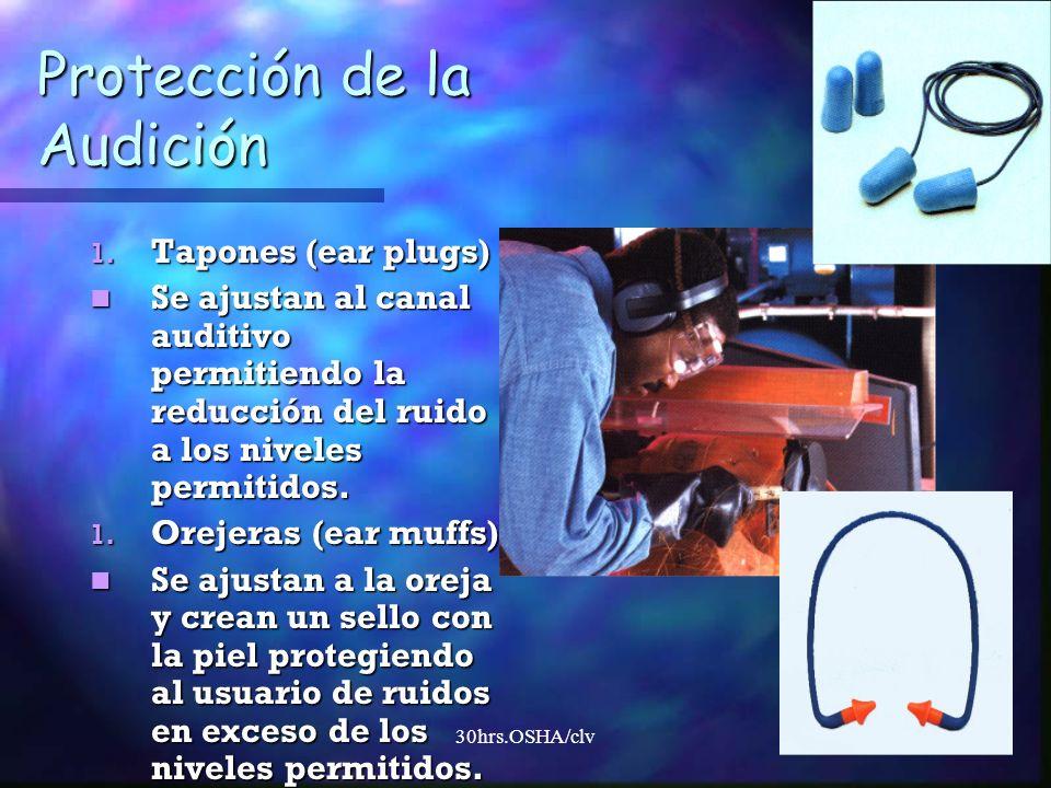 30hrs.OSHA/clv Protección de la Audición 1. Tapones (ear plugs) Se ajustan al canal auditivo permitiendo la reducción del ruido a los niveles permitid