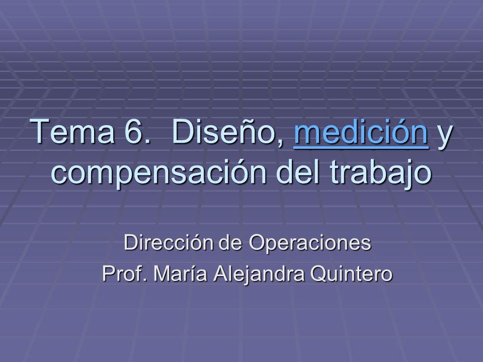 Tema 6. Diseño, medición y compensación del trabajo medición Dirección de Operaciones Prof. María Alejandra Quintero