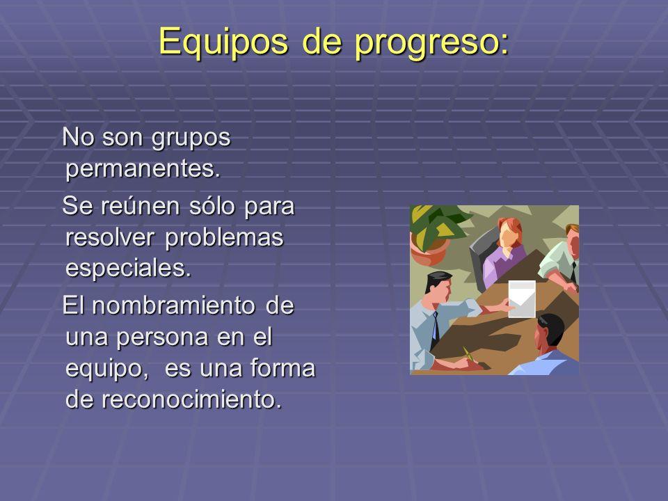 Equipos de progreso: No son grupos permanentes. No son grupos permanentes. Se reúnen sólo para resolver problemas especiales. Se reúnen sólo para reso