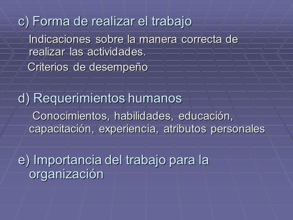 c) Forma de realizar el trabajo Indicaciones sobre la manera correcta de realizar las actividades. Indicaciones sobre la manera correcta de realizar l