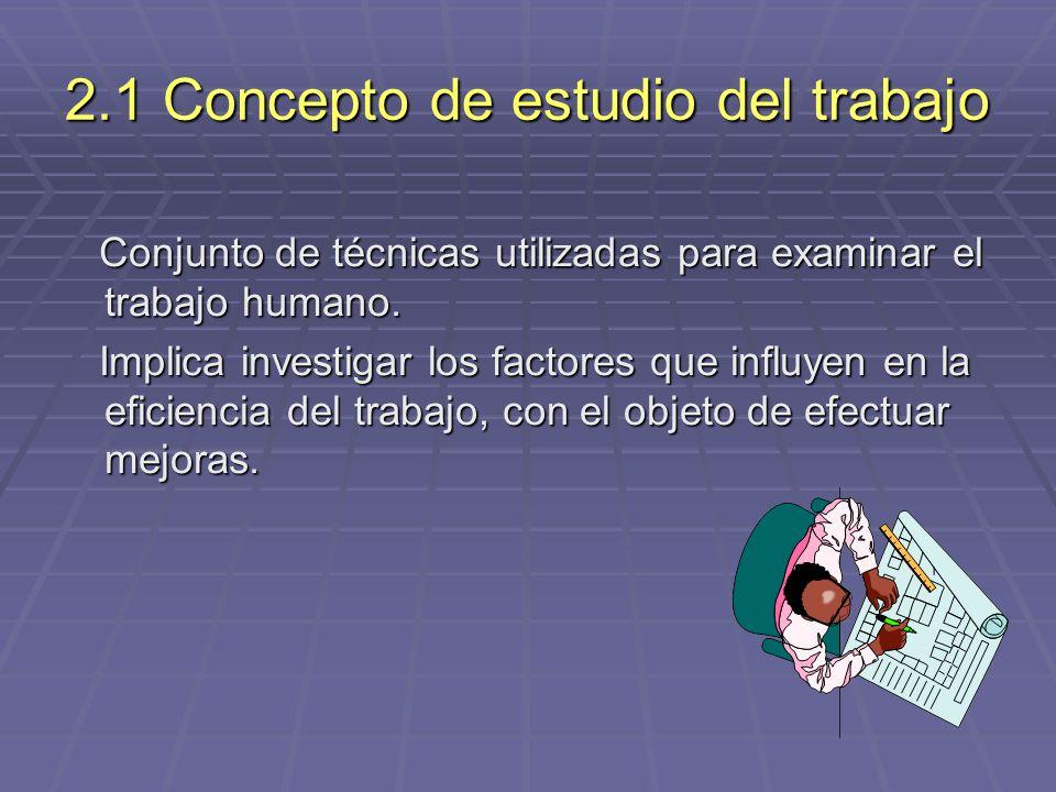 2.1 Concepto de estudio del trabajo Conjunto de técnicas utilizadas para examinar el trabajo humano. Conjunto de técnicas utilizadas para examinar el