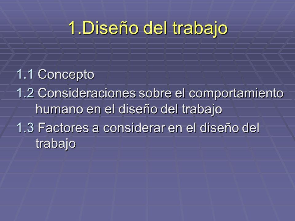 1.Diseño del trabajo 1.1 Concepto 1.2 Consideraciones sobre el comportamiento humano en el diseño del trabajo 1.3 Factores a considerar en el diseño d