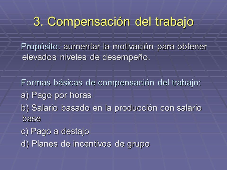 3. Compensación del trabajo Propósito: aumentar la motivación para obtener elevados niveles de desempeño. Propósito: aumentar la motivación para obten