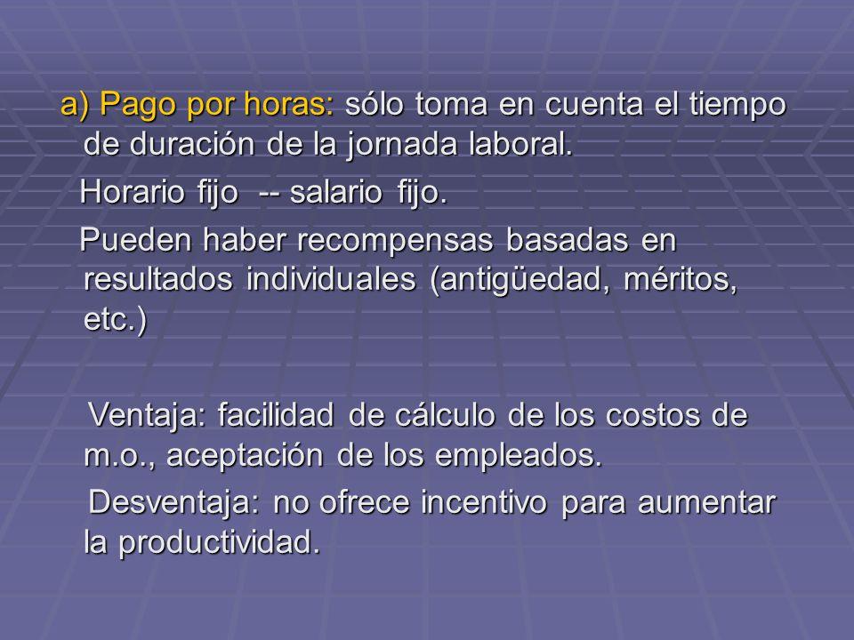 a) Pago por horas: sólo toma en cuenta el tiempo de duración de la jornada laboral. a) Pago por horas: sólo toma en cuenta el tiempo de duración de la