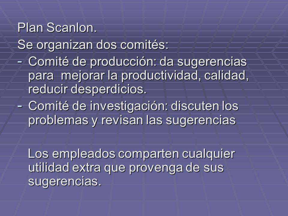 Plan Scanlon. Se organizan dos comités: - Comité de producción: da sugerencias para mejorar la productividad, calidad, reducir desperdicios. - Comité