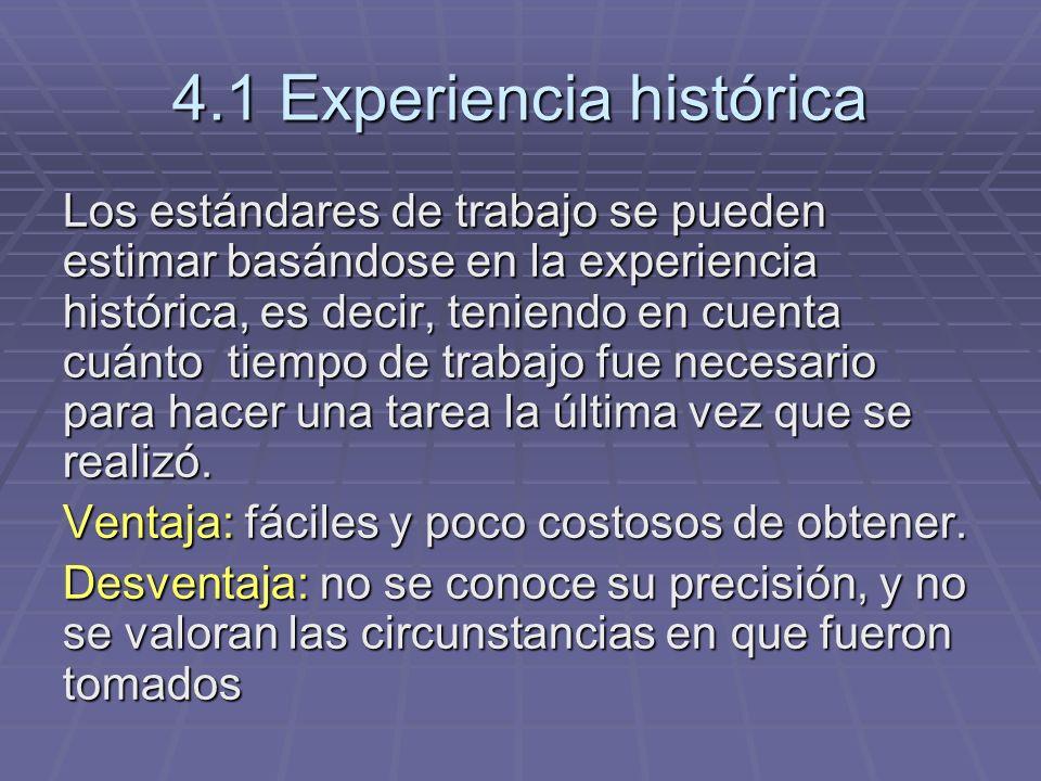 4.1 Experiencia histórica Los estándares de trabajo se pueden estimar basándose en la experiencia histórica, es decir, teniendo en cuenta cuánto tiemp