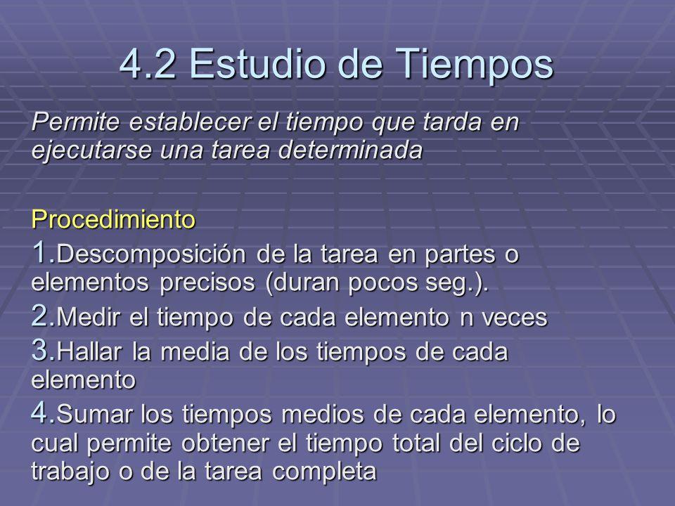 4.2 Estudio de Tiempos Permite establecer el tiempo que tarda en ejecutarse una tarea determinada Procedimiento 1. Descomposición de la tarea en parte