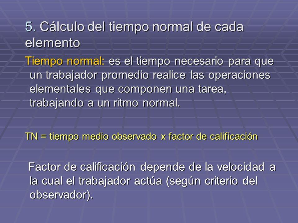 5. Cálculo del tiempo normal de cada elemento Tiempo normal: es el tiempo necesario para que un trabajador promedio realice las operaciones elementale