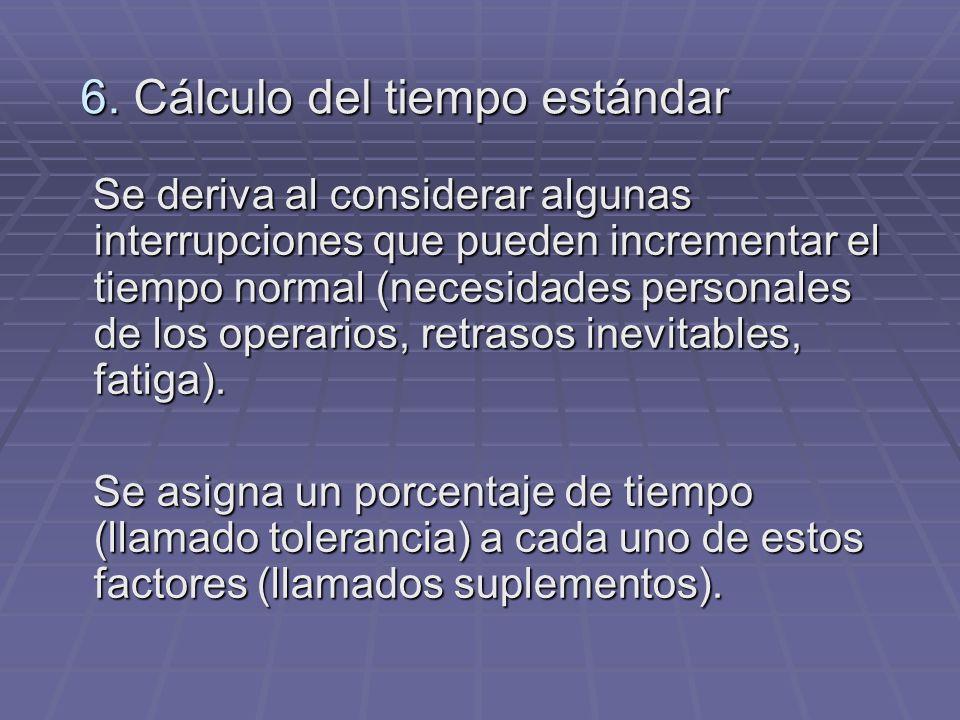 6. Cálculo del tiempo estándar Se deriva al considerar algunas interrupciones que pueden incrementar el tiempo normal (necesidades personales de los o